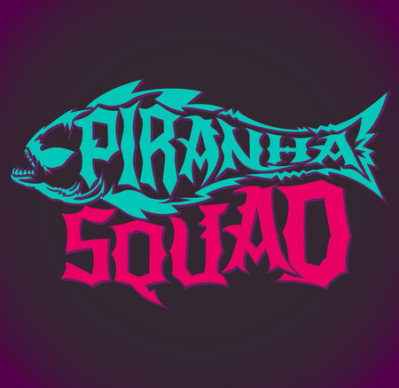 voracious: Piranha Squad - vector hardcore style lettering, Team emblem Illustration