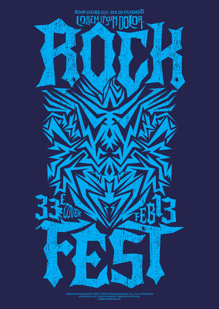 rockabilly: Hardcore Rock fest poster design template - metal festival label Illustration