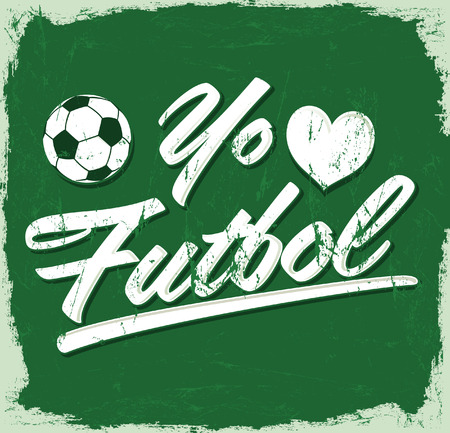 futbol: Yo amo el Futbol - I Love Soccer - Football spanish text - vintage vector sign