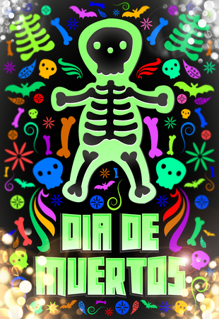 muertos: Dia de Muertos - Mexican Day of the death spanish text -fluorescent colorful candy illustration