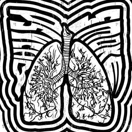 psycho: Psycho Smoke - vector illustration with lungs - crazy psychedelic monochrome style