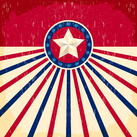 Vintage star flag background - Card, western cowboy style, Grunge effects can be easily removed