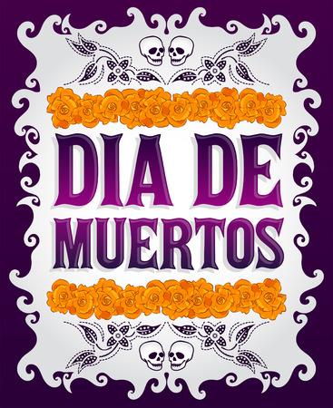 muerte: Dia de Muertos - Día mexicano de la muerte español texto y la flor de la decoración