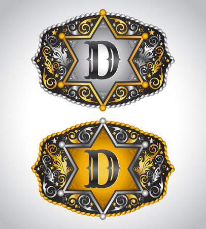 belt buckle: Cowboy Rodeo belt buckle design - Letter D - Alphabet initial vector design