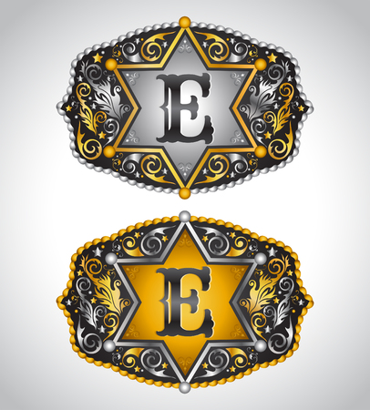 e alphabet: Cowboy Rodeo belt buckle design - Letter E - Alphabet initial vector design Illustration