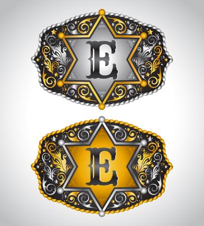 edward: Cowboy Rodeo belt buckle design - Letter E - Alphabet initial vector design Illustration