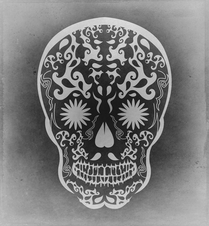 traditional illustration: Mexican traditional skull candy illustration - monochrome grunge poster Stock Photo