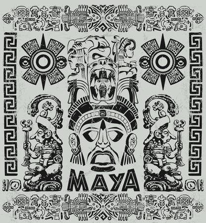 cultura maya: Ilustración de la vendimia con motivos mayas