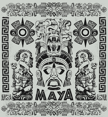 Vintage illustration with Mayan motifs Stock Photo