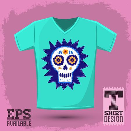 catrina: Sugar skull t-shirt print illustration, Creative cloth design template