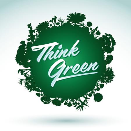 vegetation: Think Green - Creative Eco Vector Design Element, Organic Bio sphere icon With vegetation
