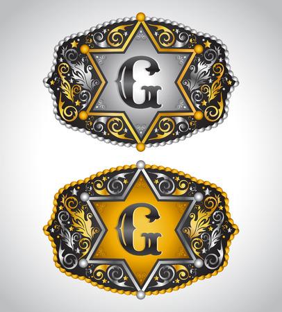 garrison: Cowboy Rodeo belt buckle design - Letter G - Alphabet initial vector design Illustration