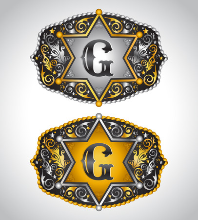 gomez: Cowboy Rodeo belt buckle design - Letter G - Alphabet initial vector design Illustration