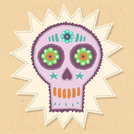 Skull Candy vector illustration - floral elements with hand craftsmanship style 일러스트