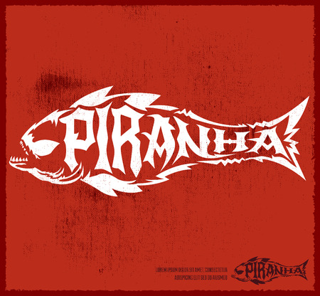 hardcore: Piranha vector lettering with the shape of a fish - hardcore emblem