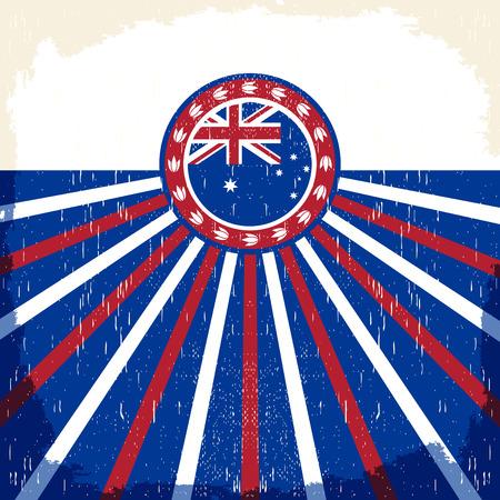 Australia vintage patriotic poster - card vector design, australia holiday decoration  イラスト・ベクター素材