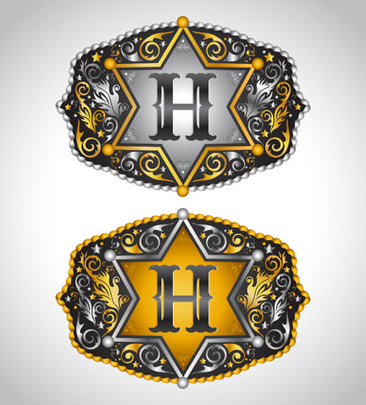 belt buckle: Rodeo Cowboy belt buckle design - Letter H - Alphabet initial vector design