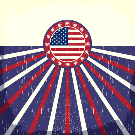 presidents' day: America Vintage flag poster - Card, western - cowboy style, Grunge effects can be easily removed