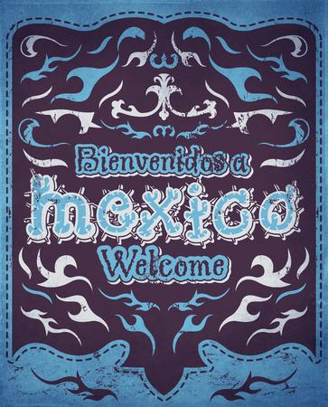 president of mexico: Bienvenidos a Mexico - Welcome to Mexico Spanish text - vintage illustration