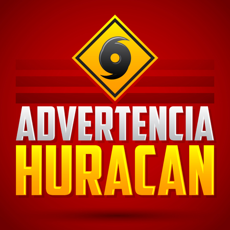 disaster: Advertencia Huracan - Hurricane warning Spanish text - vector sign, natural disaster warning emblem