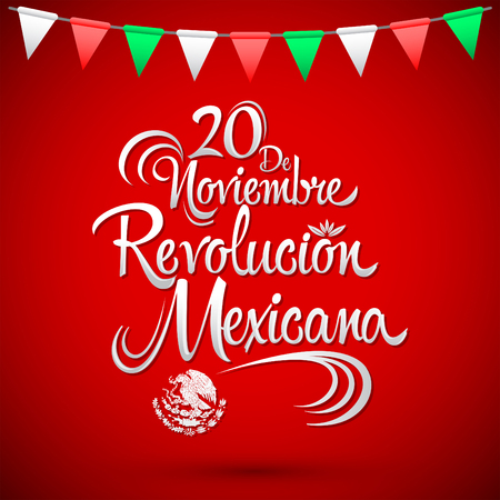 american revolution: 20 de Noviembre Revolucion Mexicana - November 20 Mexican Revolution Spanish text, vector lettering design, Traditional mexican Holiday