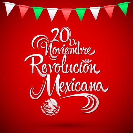 20 de Noviembre Revolucion Mexicana - November 20 Mexicaanse Revolutie Spaanse tekst, vector belettering ontwerp, traditionele Mexicaanse vakantie