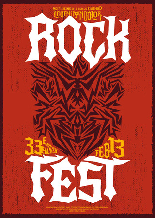 hardcore: Hardcore Rock fest poster design template - metal festival label Illustration
