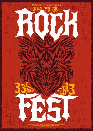 glam rock: Hardcore Rock fest poster design template - metal festival label Illustration