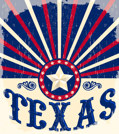 patriotic border: Texas Vintage poster - Card - western - cowboy style, Grunge effects can be easily removed