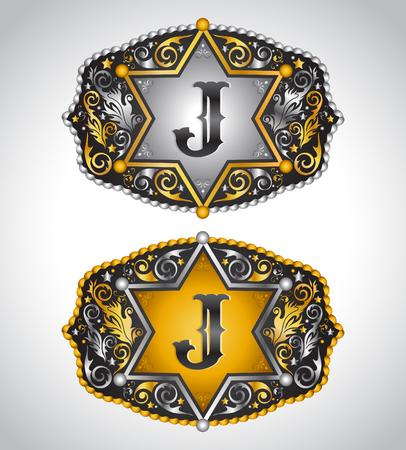 john: Cowboy Rodeo belt buckle design - Letter J - Alphabet initial vector design Illustration