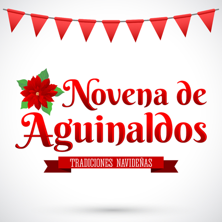 ninth: Novena de aguinaldos - Ninth of Bonuses spanish text, It is a Christmas Catholic tradition in Colombia - latin american vector holiday icon