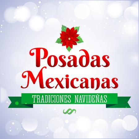 lodging: Posadas Mexicanas - Christmas Lodging spanish text - Posadas is a Mexican traditional christmas celebration - holiday emblem