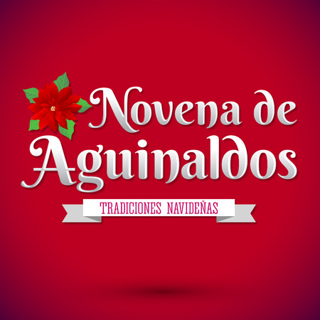 Novena de aguinaldos - Ninth of Bonuses spanish text, It is a Christmas Catholic tradition in Colombia - latin american vector holiday icon