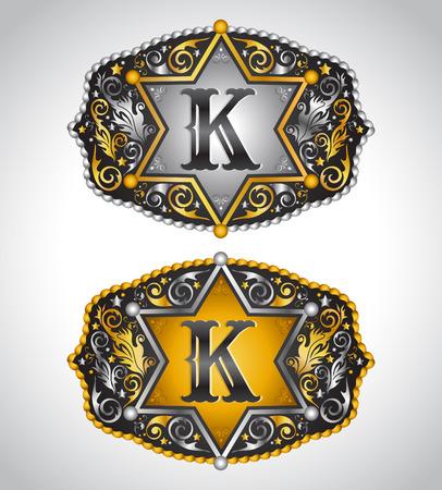 カウボーイのロデオ ベルト バックル デザイン - 文字 K - アルファベットの初期ベクター デザイン