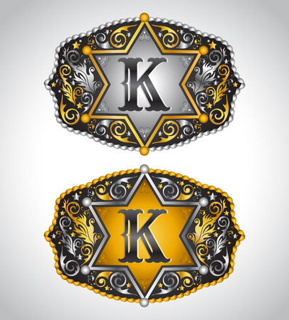 initial: Cowboy Rodeo belt buckle design - Letter K - Alphabet initial vector design