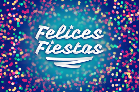 title emotions: Felices fiestas - happy holidays spanish text - Holiday background - Colorful blur light design