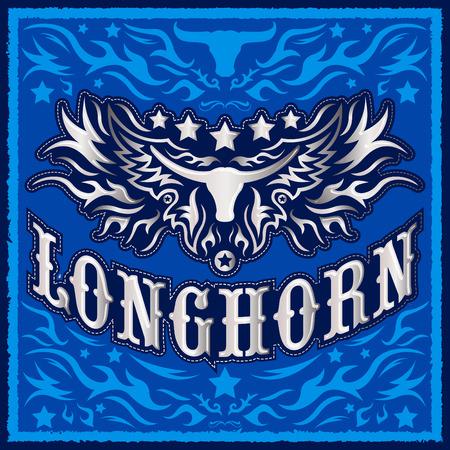 racing sign: Longhorn metallic western vector design - Rodeo cowboy poster
