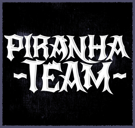 piranha: Piranha Team - vector punk style lettering, Team emblem Illustration