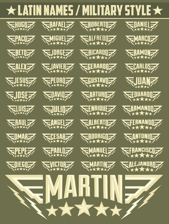 my name is: Hispanic popular names, Set of military style badges with personal latin names, armed forces icon with your name Illustration