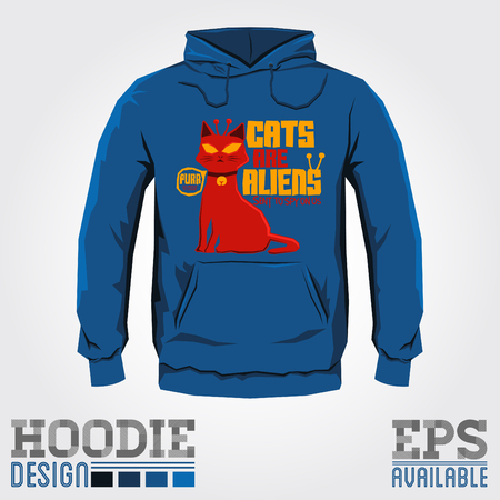 alien: Cats are Aliens - Vector hoodie print design - sweatshirt Funny colorful print template Illustration