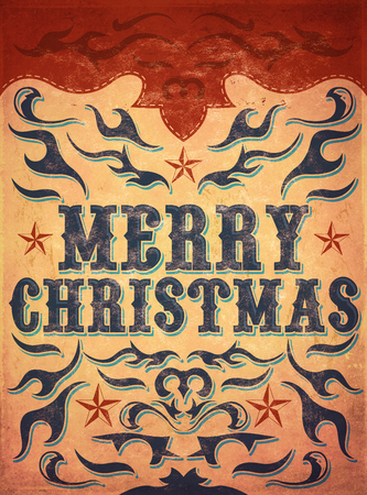 old poster: Old Sign, Vintage Merry Christmas poster - wild western illustration style