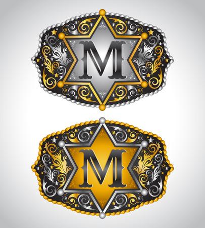 カウボーイのロデオ ベルト バックル デザイン - 文字 M - アルファベットの初期ベクター デザイン  イラスト・ベクター素材