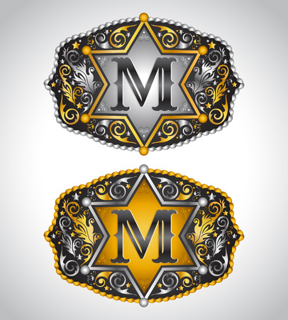 belt buckle: Cowboy Rodeo belt buckle design - Letter M - Alphabet initial vector design Illustration