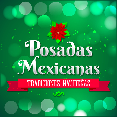 lodging: Posadas Mexicanas - Christmas Lodging spanish text - Posadas is a Mexican traditional christmas celebration - holiday emblem