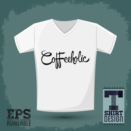 addict: Coffeeholic, coffee addict vector shirt design, Modern phrase for coffee lovers Illustration