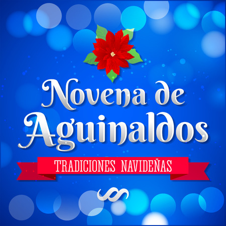 holiday tradition: Novena de aguinaldos - Ninth of Bonuses spanish text, It is a Christmas Catholic tradition in Colombia - latin american vector holiday icon