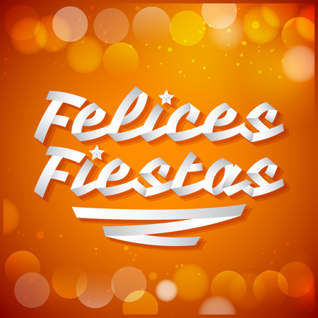 fiestas: Felices fiestas - happy holidays spanish text - White ribbon Vector typographic Lettering.