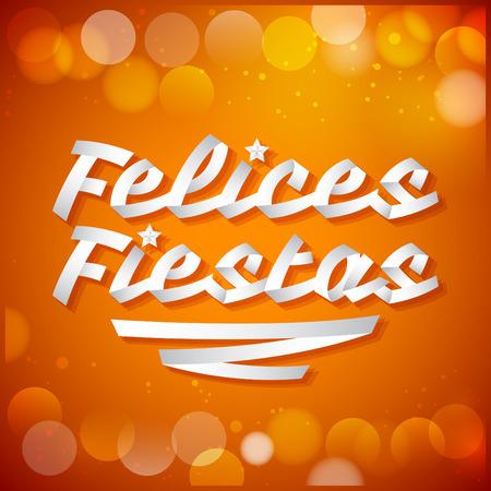 fiestas: Felices fiestas - happy holidays spanish text - White ribbon Vector typographic Lettering.