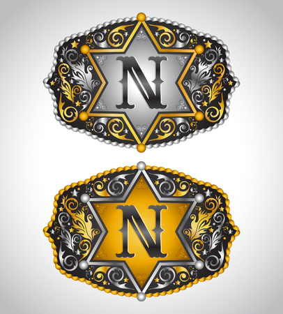 belt buckle: Cowboy Rodeo belt buckle design - Letter N - Alphabet initial vector design