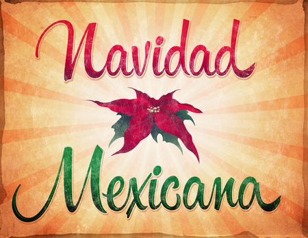 mexicana: Navidad Mexicana - Mexican Christmas spanish text - Old vintage card - poster Stock Photo